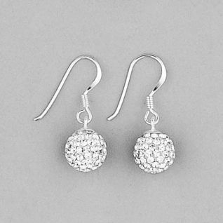 925 Sterling Silver Swarovski Crystal Set Disco Ball Drop Earrings 2a2d26b391