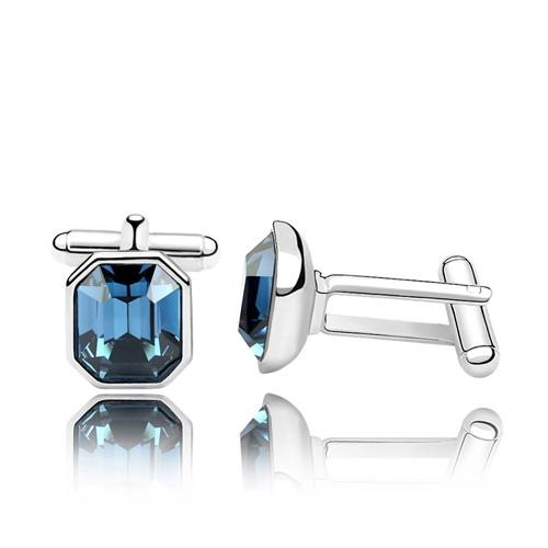 Blue Austrian Crystal 18k White Gold Cufflinks