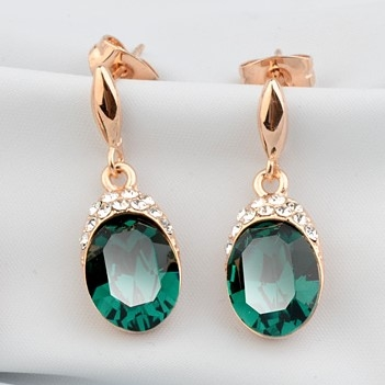 Green and White Austrian Crystals 18k Rose Gold Stud Earrings