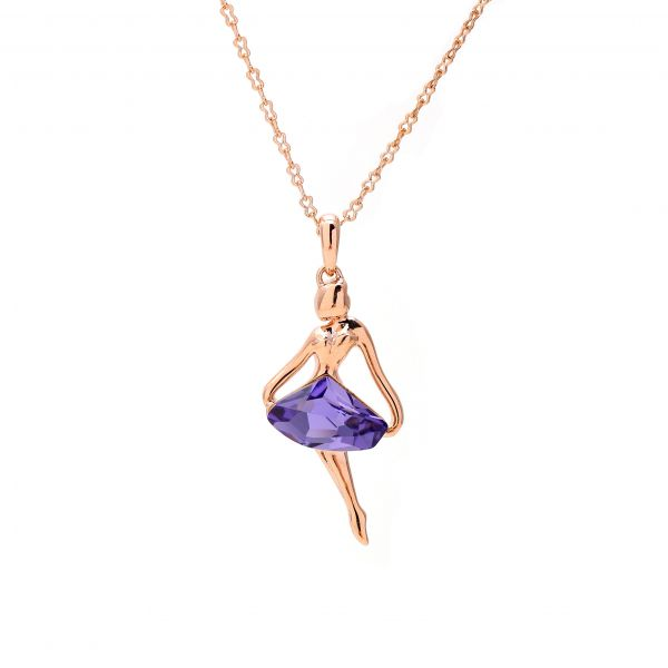 Purple Austrian Crystal set in 18k rose gold Dancer Necklace