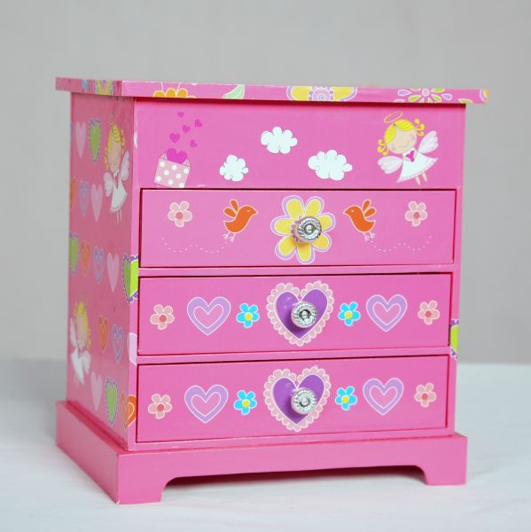 Pink Patterned Musical Jewelry Chest of Drawers