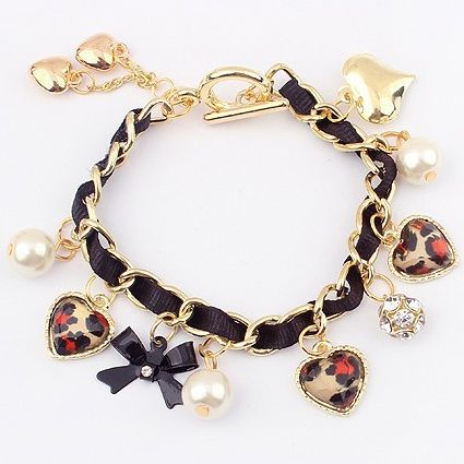 Antique Gold and Pearl Charm Bracelet