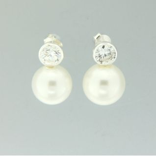 925 Sterling Silver Pearl Stud Earring with Cubic Zirconia