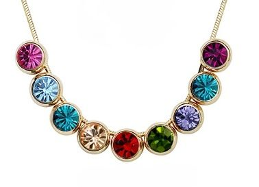 Multi-coloured Austrian Circle Crystals 18k rose gold Snake Chain