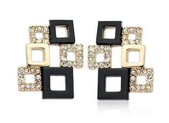 18k Rose Gold Studs with White and Black Austrian Crystals in Fancy Square Pattern