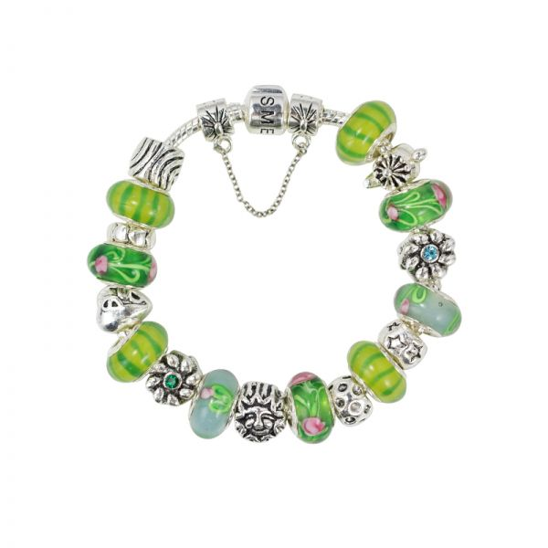 SME Green and Silver European Charm Bead Bracelet with Murano Glass Beads