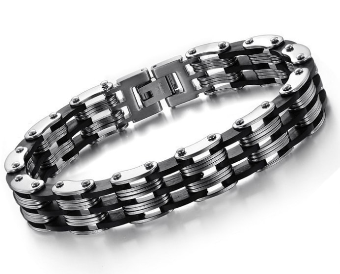 Stainless steel link bracelet with 3 black strips