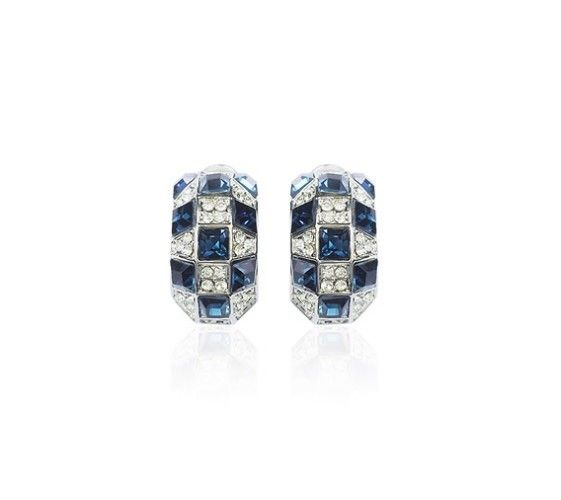 Blue Austrian Crystals set in 18k White Gold-Plated Pierced Earrings