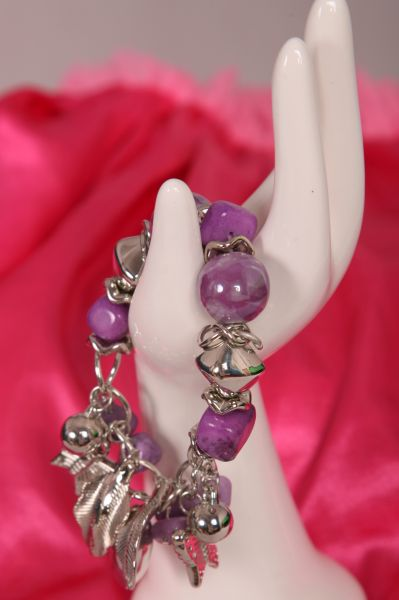 Purple and Silver Fashion Bead Bracelet