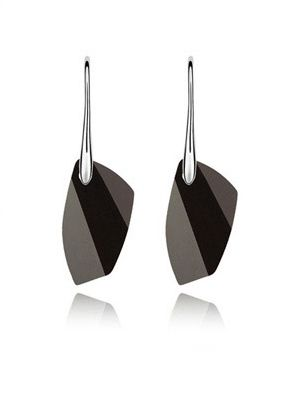 Black and White Austrian Crystal 18k White Gold Earrings