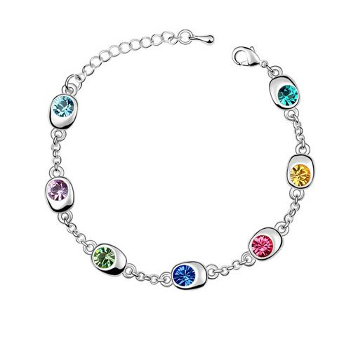 Multi-coloured Austrian Crystal 18k White Gold Bracelet