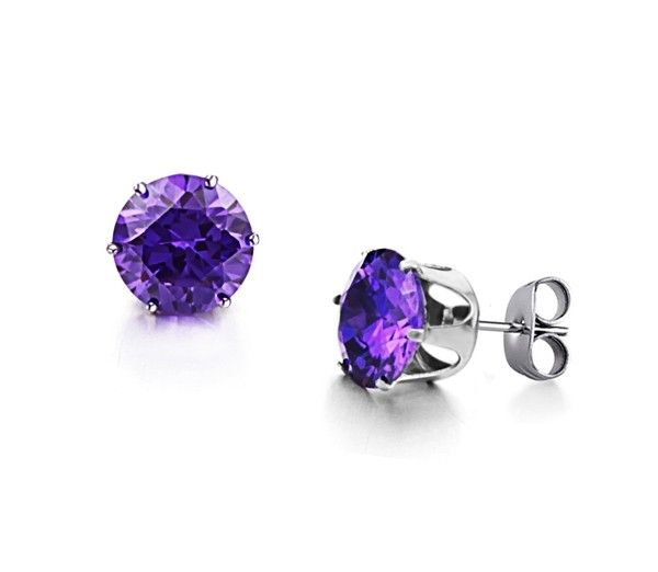 Purple (10mm) Cubic Zirconia Crystal in Stainless Steel Stud Earrings