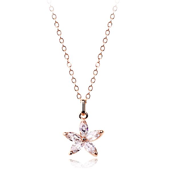 White Austrian Crystal Snowflakes set in 18k Rose Gold-Plated Pendant Necklace