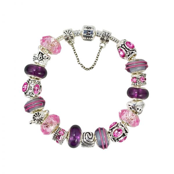 SME European Charm Bracelet with Purple Murano Glass Beads