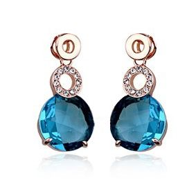 Teal Austrian Crystal 18k Rose Gold Earrings