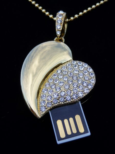 4GB Golden and Crystal Heart USB