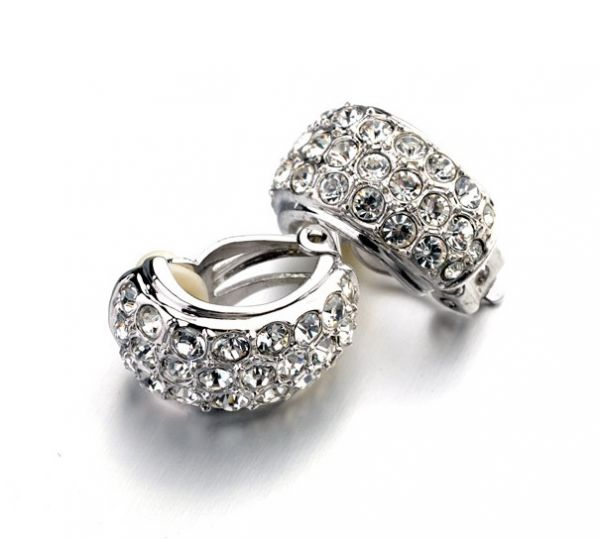 Austrian Crystals set in 18k White Gold-Plated Clip On Earrings
