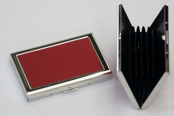 Silver Stainless Steel Credit card case with red leather inlays