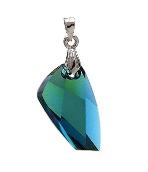 Emerald Green Austrian Crystal in 925 Sterling Silver Pendant