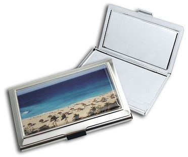 Slimline Silver Stainless Steel business/credit card case with ocean scene inlay