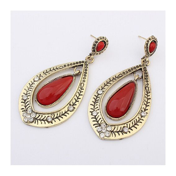 Red Gemstone White Crystal European Vintage Style Pierced Earrings