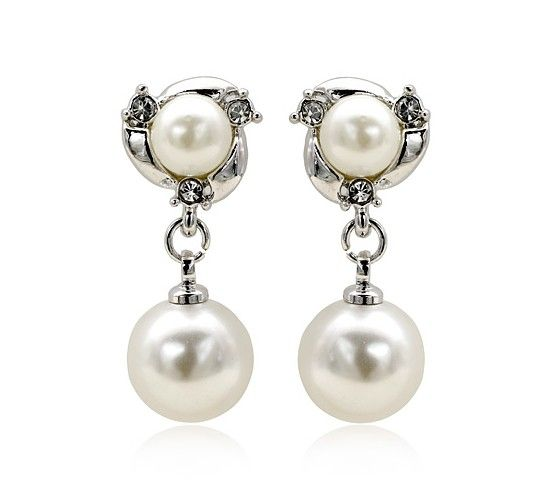 Pearls set in 18k White Gold-Plated Drop Earrings