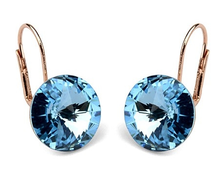Blue Austrian Crystal 18k Rose Gold Pierced Earrings