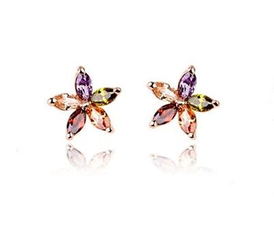 Colourful Austrian Crystal Snowflakes set in 18k gold plated stud earrings