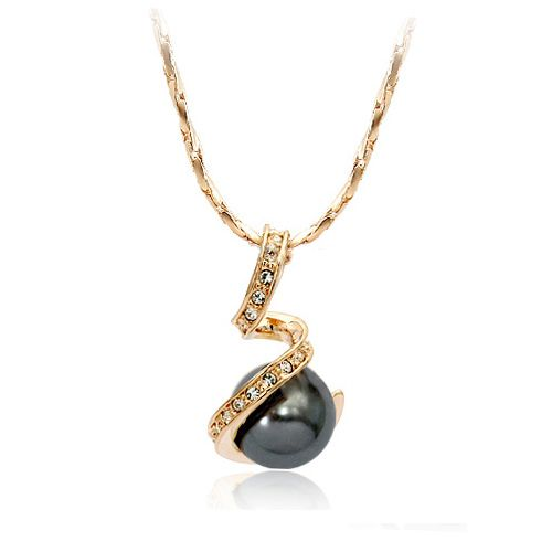 Black Pearl and Austrian Crystal 18k Rose Gold Pendant Necklace