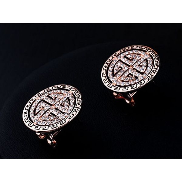 Round Retro Style 18k Rose Gold and Austrian Crystal Pierced Earrings