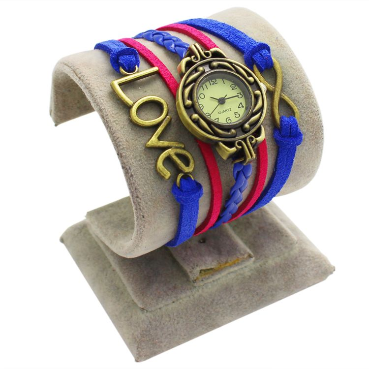 Red and Blue Leather Antique Love Watch