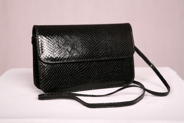 Premium Leather Black Italian Snake Print Shoulder Bag
