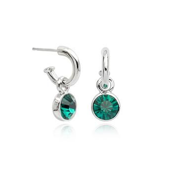 Green Austrian Crystals set in 18k White Gold Drop Earrings