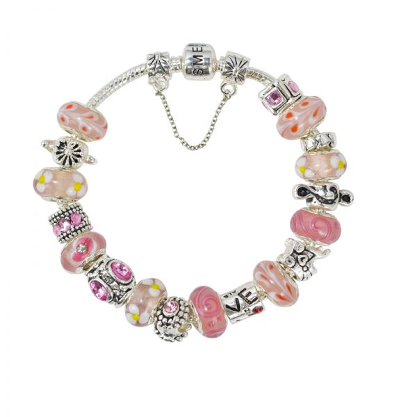 SME European Pink and Silver Charm Bead Bracelet with Murano Beads