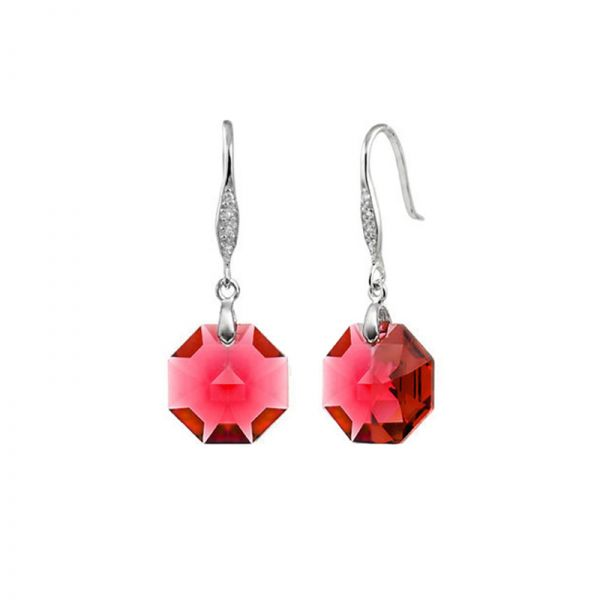 Red OctagonalAustrian Crystals in 925 Sterling Silver Earrings
