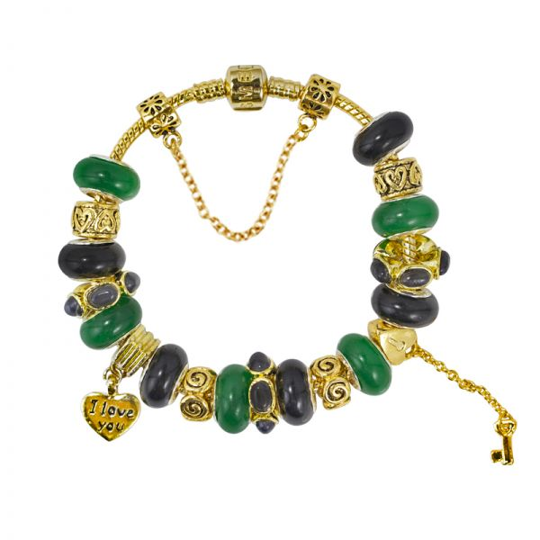SME Gold Plated European Charm Bracelet with Green and Black Murano Glass Beads