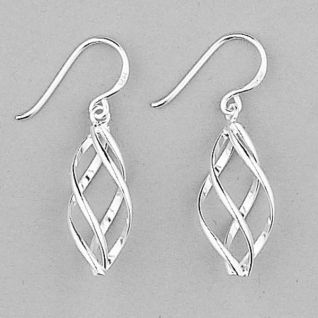 925 Sterling Silver Small Fancy Twist Swirl Drop Earrings