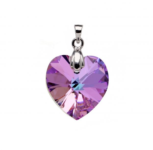 Purple Heart Austrian Crystal set in 925 Sterling Silver Pendant