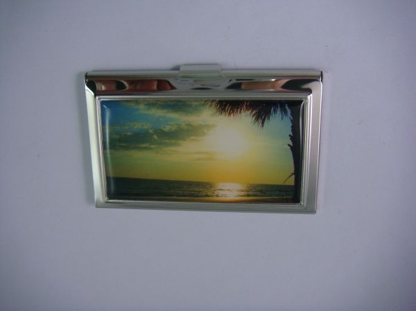 Slimline Silver Stainless Steel Business/Credit Card Case with Island Sunset Inlay