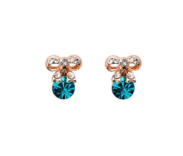 Green Austrian Crystals set in 18k Gold Plated Bow Stud Earrings