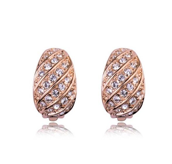 Austrian Crystals set in 18k Rose Gold-Plated Clip On Earrings
