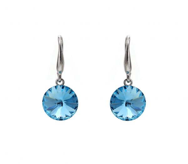 Blue Austrian Crystals set in 18k White Gold Plated Circle Earrings