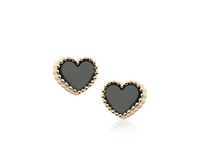 Black Heart Austrian Crystal 18k Rose Gold Earrings