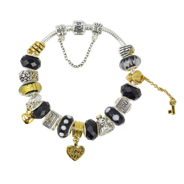 SME European Charm Bracelet with Silver and Gold Plated charms and Black Murano Glass Beads