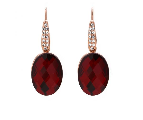 Wine Red Oval Austrian Crystals set in 18k gold plated earrings
