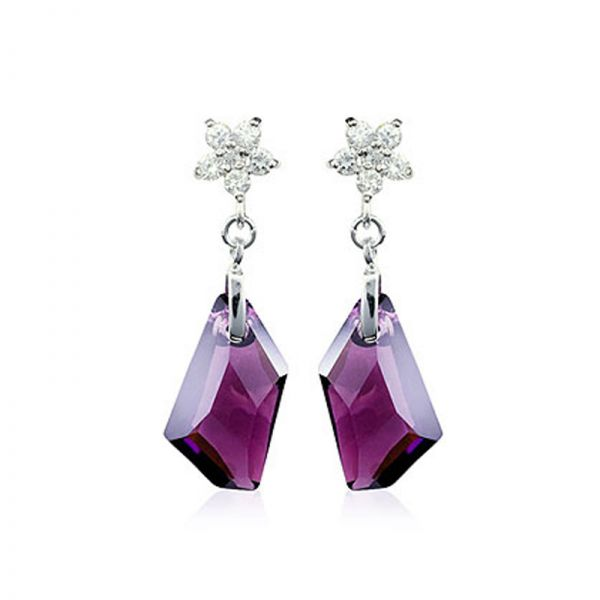 925 Sterling Silver Star Earrings with Purple Austian Crystals