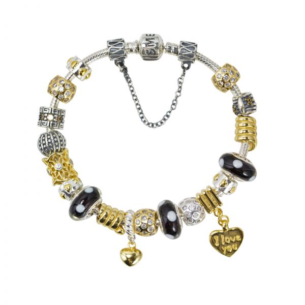 SME European Silver, Gold and Black Charm Bead Bracelet with high quality Murano Glass Beads