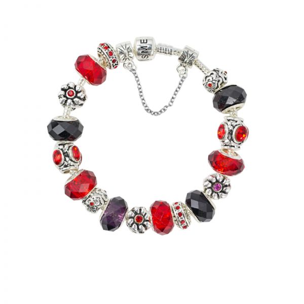 SME European Charm Bracelet with Red and Black Murano Glass Beads