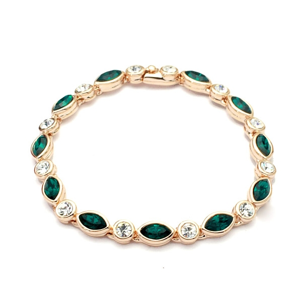 Green and White Genuine Austrian Crystals in 18k Rose Gold Bracelet