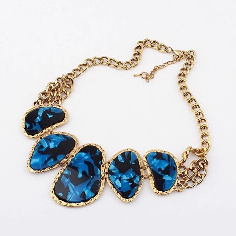 Blue and Black Stone European Vintage Style Necklace